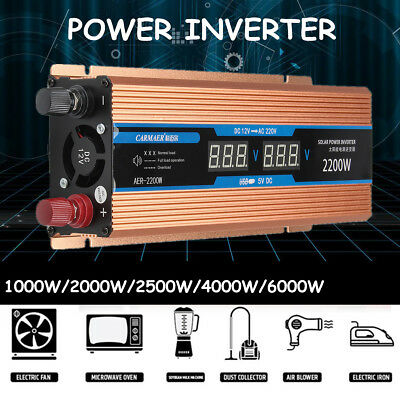 1000W-8000W Solar Power Inverter DC 12V/24V to AC 110V/220V Sine Wave Converter