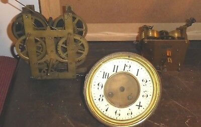 3 antique brass clock movements, one with face, SPARES OR REPAIR