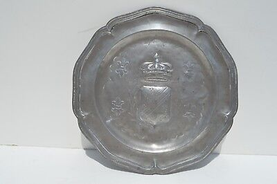 Beautiful Antique English Pewter Plate/Dish Depicting Embossed Crown & Shield