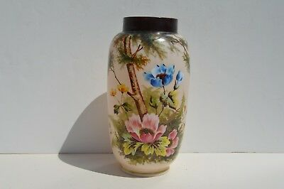 Beautiful Lg Antique Hand Painted Flowers On White Glass/Milk Glass Flower Vase