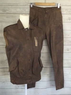 MATHILDE Size 10 S VINTAGE 80s Party Costume 2 Piece Faux Brown Leather Retro