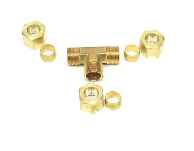 """1/2"""" Tube OD Tee Brass Compression Fitting Adapter Water Oil Gas"""