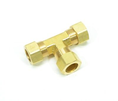 "5/8"" Tube OD Tee Brass Compression Fitting Adapter Water Oil Gas"