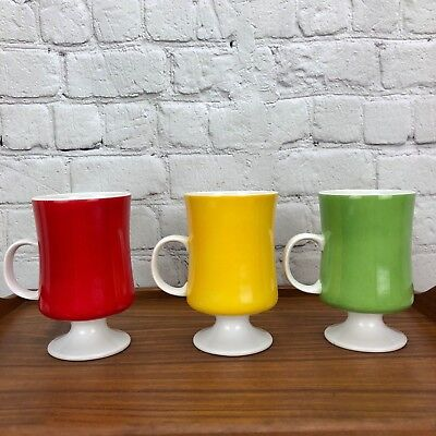 Seyei Fine China Vintage Set of 3 Solid Color Footed Coffee Mugs Porcelain Cups