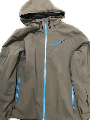 New Spyder Men's Fanatic Hooded Jacket Polar Electric Coat, Blue/Gray, Medium