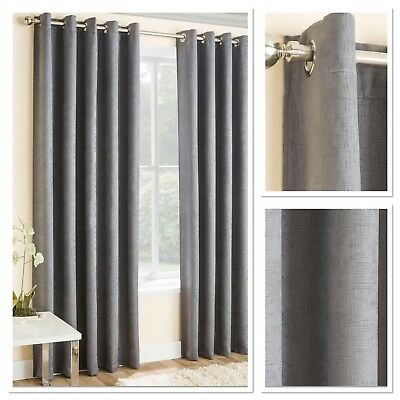 Vogue Woven Textured Blockout/Thermal Fully Lined Eyelet Curtains Grey
