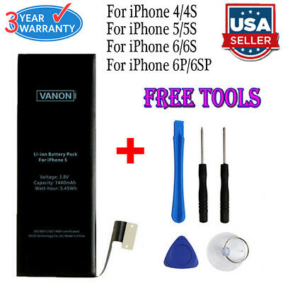 Replacement Internal Battery for iPhone 4 4s 5 5c 5s 6 6s Plus + Free Tools Kit