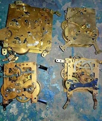 4 x Mechanical clock Movements antique assorted For Spares or Repairs