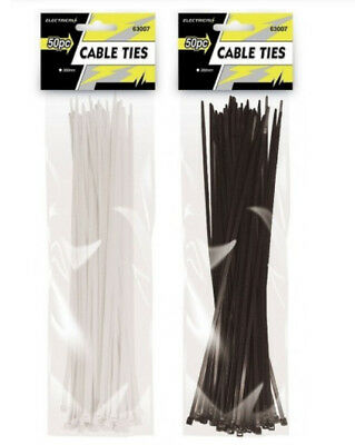 50 x Cable Ties Black & White Colour Tie Wraps Nylon Zip Ties Strong Extra Long