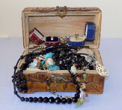 Chinese Box with Antique / Vintage 9ct Gold / Silver & Other Costume Jewellery