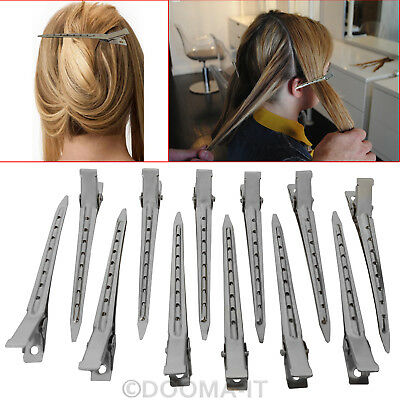 24X Set Metal Hair Sectioning Clips Sprung Strong Grip Hairdressing Hair Clip