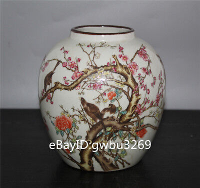 China Old Porcelain Pot Hand-painted Flowers and birds Vase w Qianlong  Mark