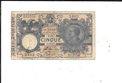 Italy 1922 Bank Note Paper Money Currency 5 Lire