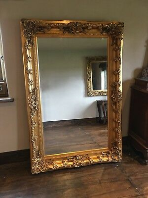 Large Statement Antique Gold Ornate French Dress Leaner Floor Wall Mirror 7ft