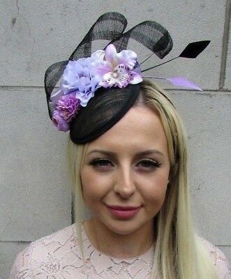 Black Lilac Light Purple Sinamay Rose Flower Feather Hat Fascinator Races 5852