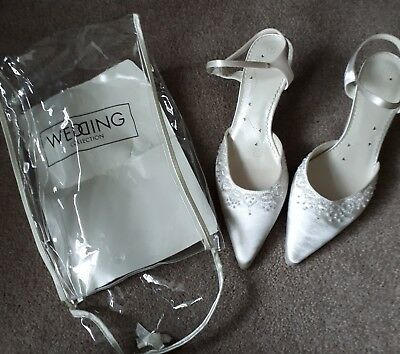 Wedding shoes BHS. Ivory satin with beaded detail. Ladies size 7.  2.5 inch heel