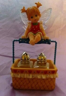 My Little Kitchen Fairies - FAIRIE ON BASKET with s & p shakers  Rare