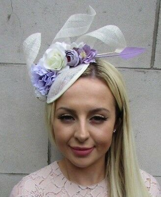 Cream Lilac Light Purple Sinamay Rose Flower Feather Hat Fascinator Races 5857