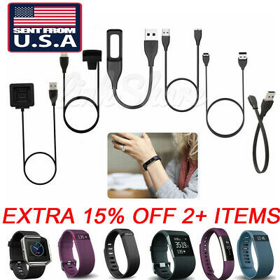 US USB Charger Charging Cable For Fitbit Alta Blaze Charge HR Surge Force Flex 2