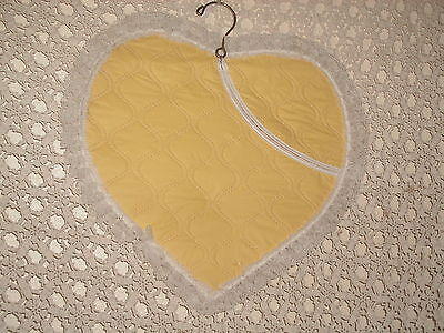 Shabby Cottage Vintage Dainty Hosiery Bag Yellow Vinyl Heart Lace Paris Apt Chic