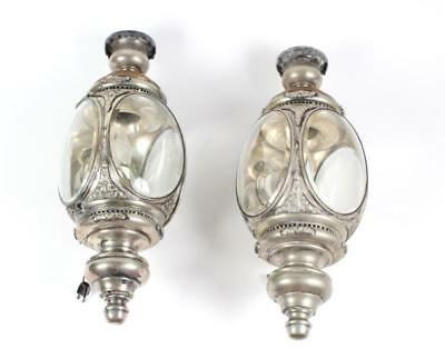PAIR of Antique Silver Plate Carriage Lamp Sconces Lot 173
