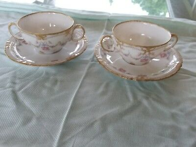 2 Haviland Limoges 2 Handled Cream Soup Pink Rose Swags Wreaths Gold! SCH 330