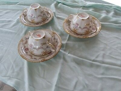 3 Haviland Limoges 2 Handled Cream Soup Pink Rose Swags Wreaths Gold! SCH 330
