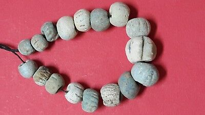 Ancient beads .17 ancient Egyptian faience beads several sizes very rare.