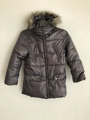 Zara Girls Puffy Silver Gray Coat With Hoodie Size 9/10