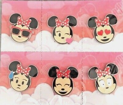Disney Parks Pin Minnie Mouse EMOJI 6 pin Booster Set of Pins NEW