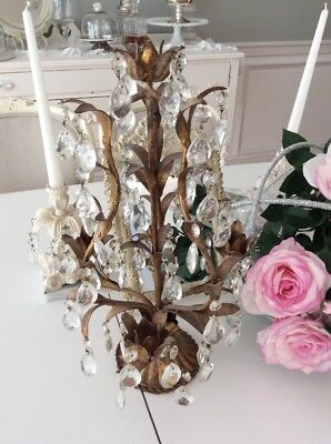 Vtg Italian Tole Gilt Gold Candelabra Shabby Hollywood Regency prism crystals