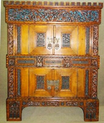 Gothic Antique German Shrank Church Armoire, Handcarved Ornate Tiger Maple 1800s