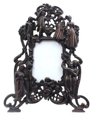 Antique Victorian Metal Picture/Photo Frame Glazed Dancing Figures Cherub