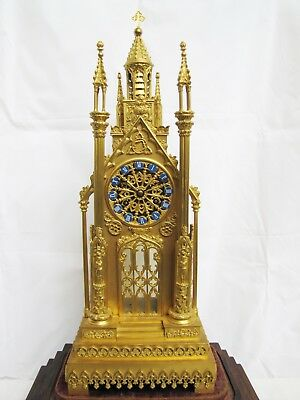 Antique 1800's French Gilt Bronze Cathedral Mantel Clock