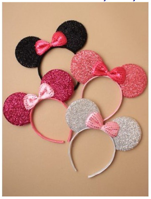 Mouse Ears With Mini Bow Black Pink Hot Pink Silver - Hen Fancy Dress