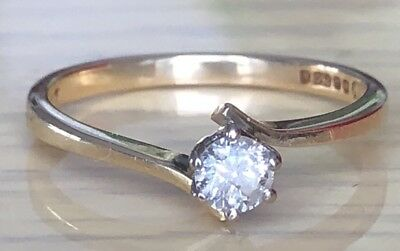 Superb 18ct Solid Yellow Gold 0.24ct Diamond Solitaire Engagement Ring