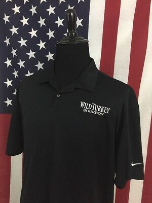1f02d0cd Nike Wild Turkey Bourbon Polo Shirt men's 2XL xxl dri fit black Whiskey  36233