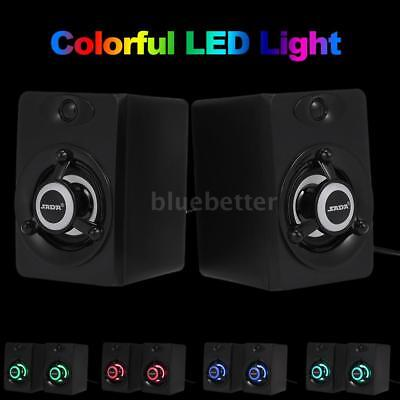USB Wired Speaker LED Computer Bass Stereo Subwoofer Music Speaker for PC N7K3
