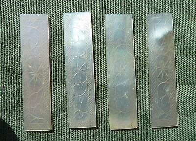 4 x Mother of Pearl Shell Shapes Fine Engraving both sides - Inlay Restoration