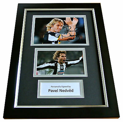 PAVEL NEDVED Signed A4 FRAMED Photo Autograph Display JUVENTUS Football & COA