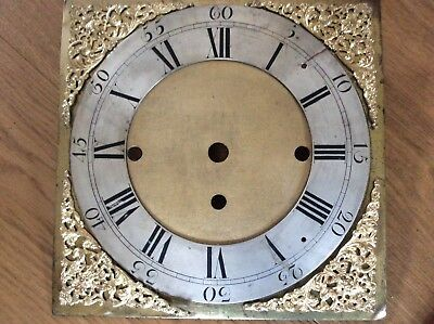 Longcase Clock Dial With Matted Centre and Gilt Spandrels