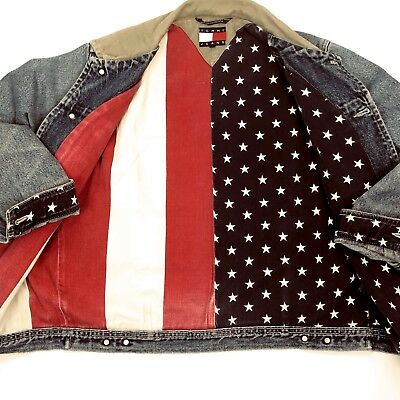 TOMMY HILFIGER Denim Jean Jacket American Flag Lined Size Large VTG