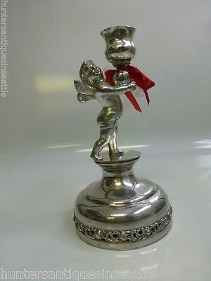 Late Victorian Standard Silver Co. Ltd. Cherub Candle Holder.