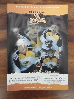 Newcastle Vipers Ice Hockey Match Programme - Vipers v Hull Thunder