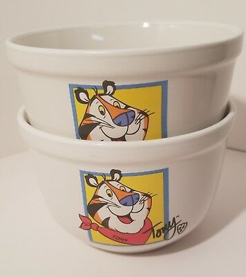 2002 Kellogg Tony the Tiger Frosted Flakes Ceramic White Bowl