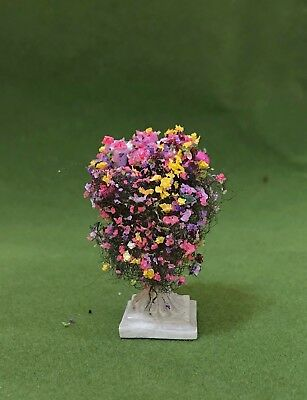 Dollhouse Miniature Filled Pedestal Planter with multi colored flowers