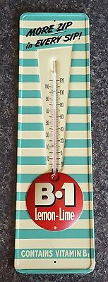 Metal Advertising Thermometer - Vintage B1 B-1 Lemon Lime Soda  Dead NOS MINT