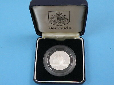 Bermuda - 1988 Sterling Silver Proof One Dollar $1 Coin - Boat In Full Sail