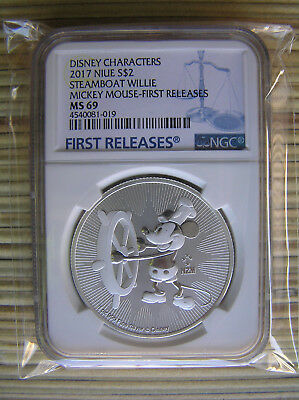 2017 Niue 1 oz. Silver Mickey Mouse Steamboat Willie $2 NGC MS69 ER SKU45490
