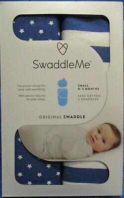 SwaddleMe Original Swaddle - Size: Small 0-3 Months - Blue -100% Cotton Set Of 2